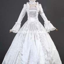 Белое сатиновое парчовое платье 18-го века, платье Марии Антуанетты, свадебное/готическое платье для косплея