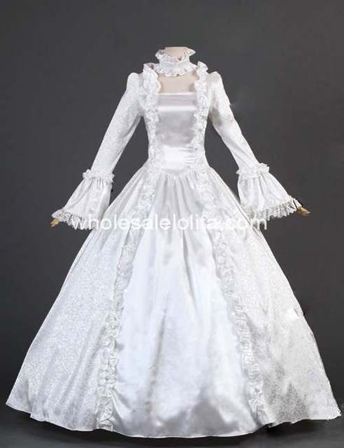 18th Century White Satin Brocade Marie Antoinette Period Dress Wedding  /gothic dress cosplay
