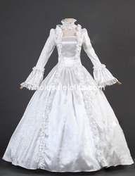 18th Century Wit Satijn Brokaat Marie Antoinette Periode Jurk Bruiloft/gothic dress cosplay