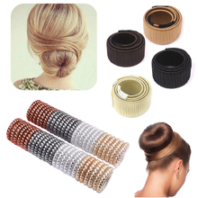 1pcs Synthetic Wig Donut Headband Women Hair Accessories +5pcs Rubber Rope Elastic Hairbands Telephone Wire Line Headwear