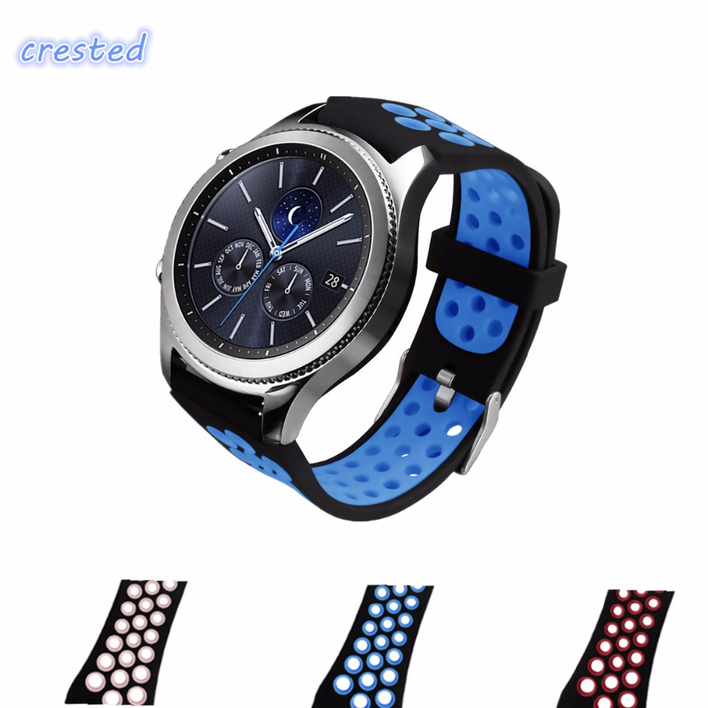CRESTED sport silicone strap for samsung gear s3 Classic/Frontier replacement rubber band watch strap for samsung gear S3 22mm 22mm replacement strap for samsung gear s3 classic watch band sport silicone bracelet strap for samsung gear s3 frontier band