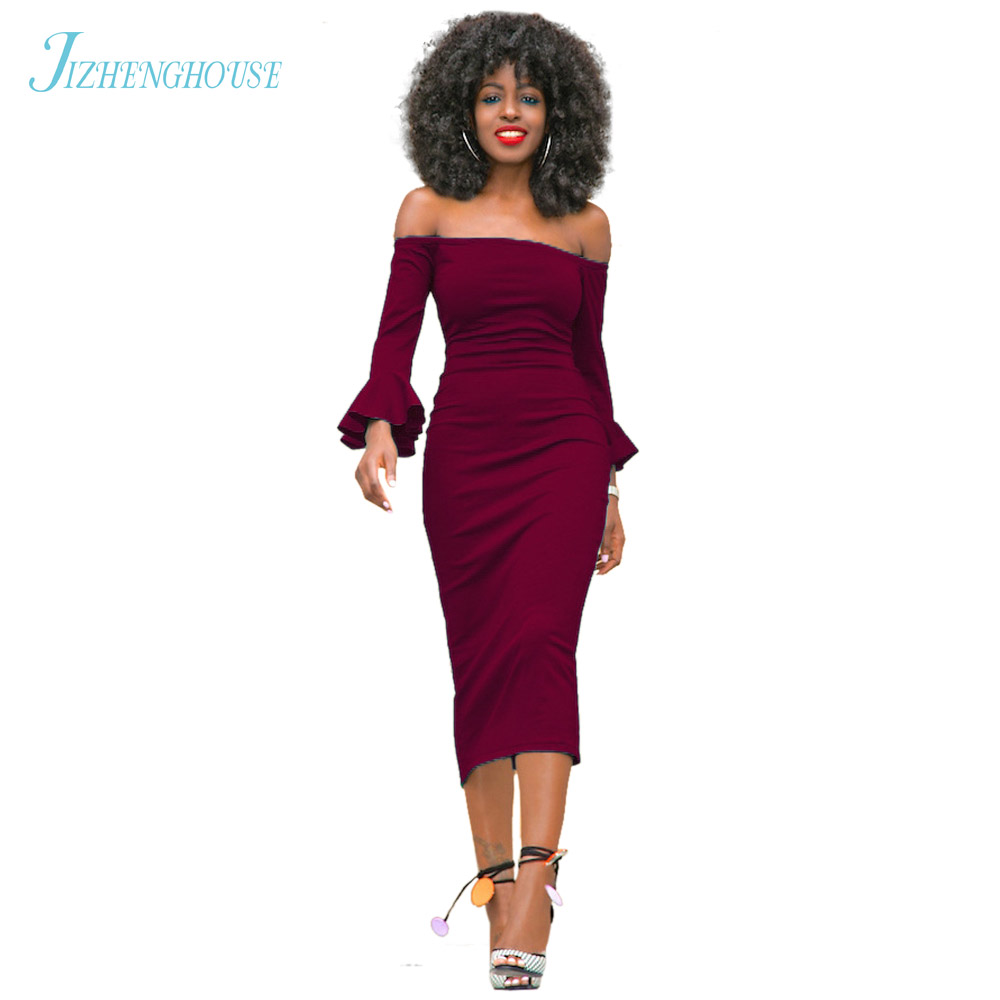 JIZHENGHOUSE 2017 Summer Women Sexy Fashion Slash Neck Party Dress Off The Shoulder Bodycon 6 Colors Casual Midi Dress