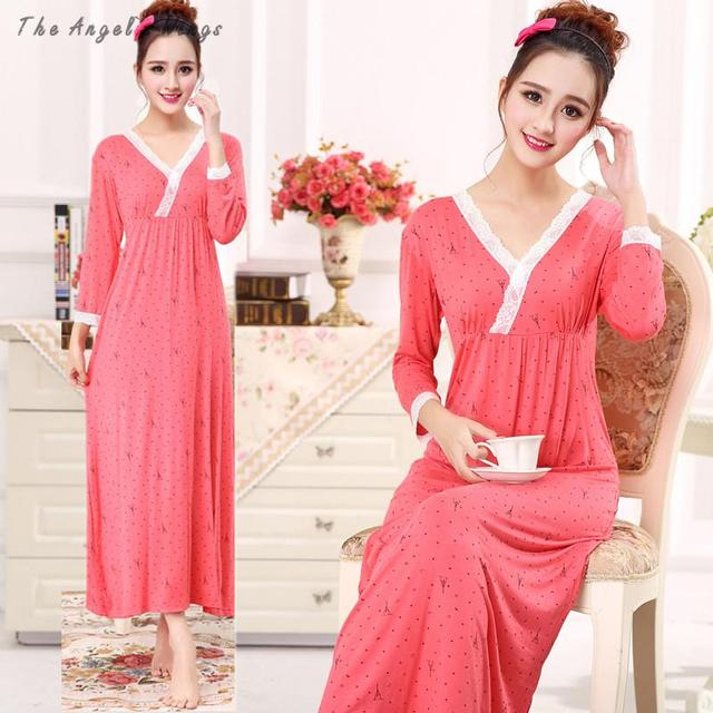 Womens dresses princess For bust 96-118cm  Long  Nightgown Female Moda Sleeve Sleep Dresswomens long nightgowns 629-D