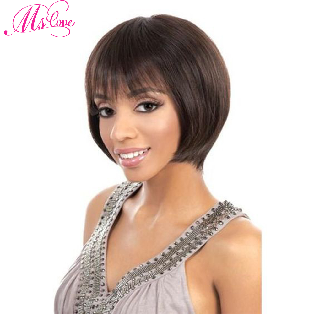 Ms Love Short Straight Human Hair Wig Natural Color #1b Human Hair Wig Non Remy Brazilia ...