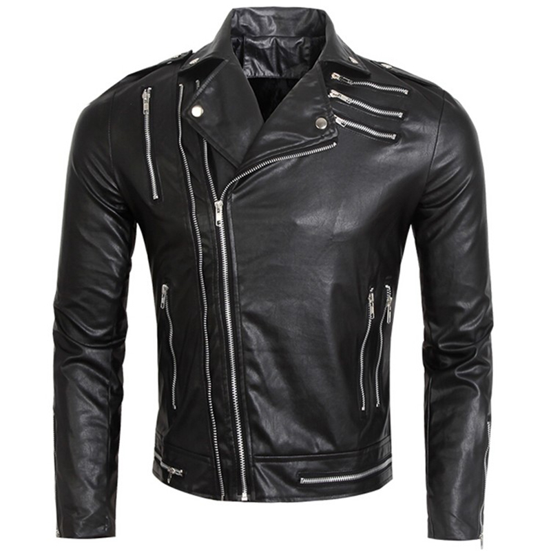 Soft PU Multi Zipper Fashion Male Biker Leather Motorcycle Jacket Men Black Slim Fit Design