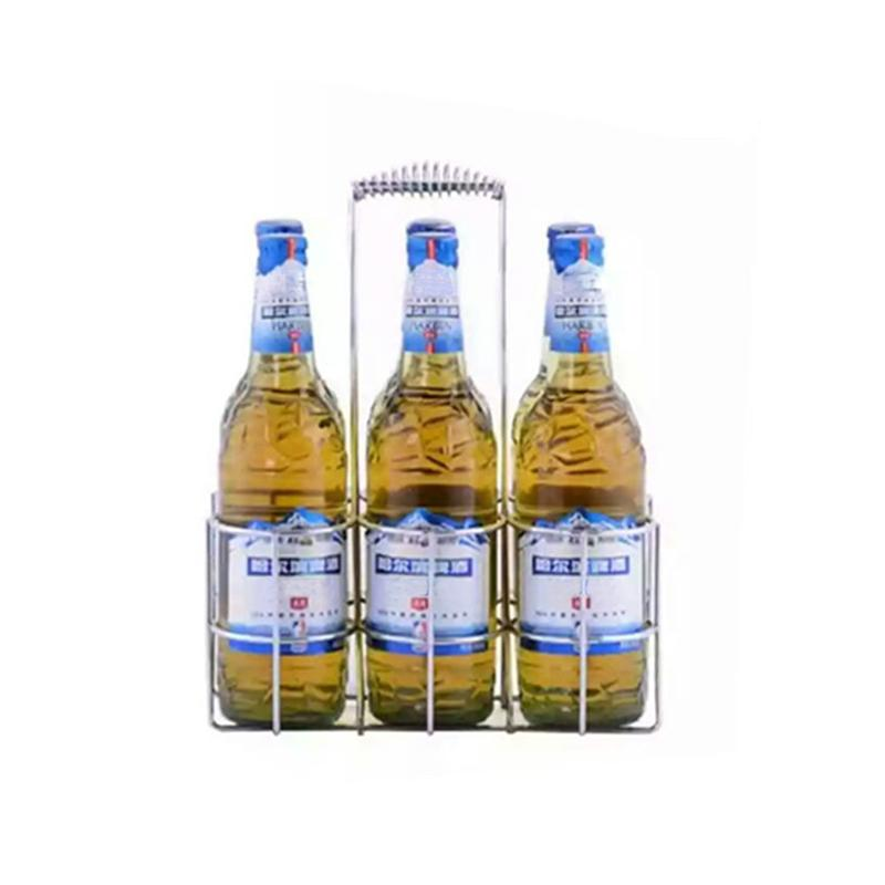 Tabletop Wine Holder Bottle Server for 6 Bottles Metal Table Standing Rack Hand Basket Beer Container for Restaurant KTV Bar