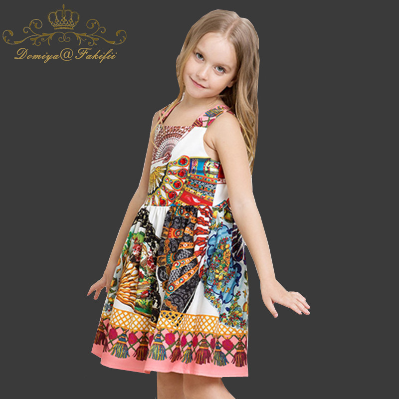 Domiya&Fakifii Girl Dress 2018 New Spring Kid Clothes Children Clothing Brand Rose Flower Print Sleeveless Baby Girl Dress Party hot sale new 2016 summer girl dress cat print baby girl dress children clothing children dress 2 6years