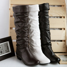 AA226 Large size 2016 new arrive Winter Knee high Women Boots Black White Brown flat heels half boots autumn winter shoes woman