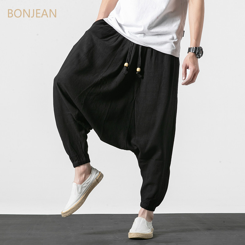 BONJEAN Men Pants Men's Wide Crotch Harem Pants Loose Large Cropped Trousers Wide-legged Bloomers Chinese Style Flaxen Baggy