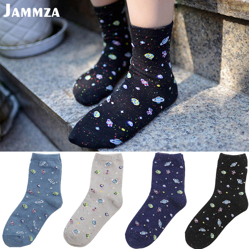New Starry Sky Winter Cotton Women Space Socks Korea Women's Summer Fashion Astronaut Planet Socks Universe Novelty Short Socks