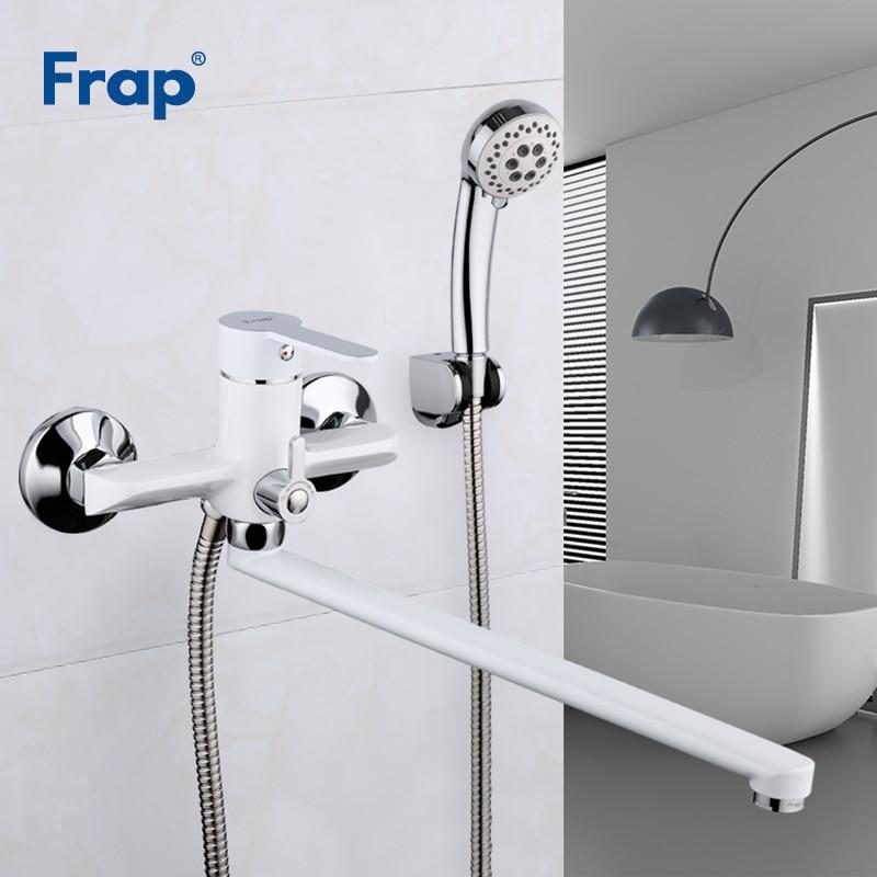 Frap Bathtub Faucets White Bathroom Shower Faucet Set Bath Water Mixer Shower Taps Shower Wall torneira