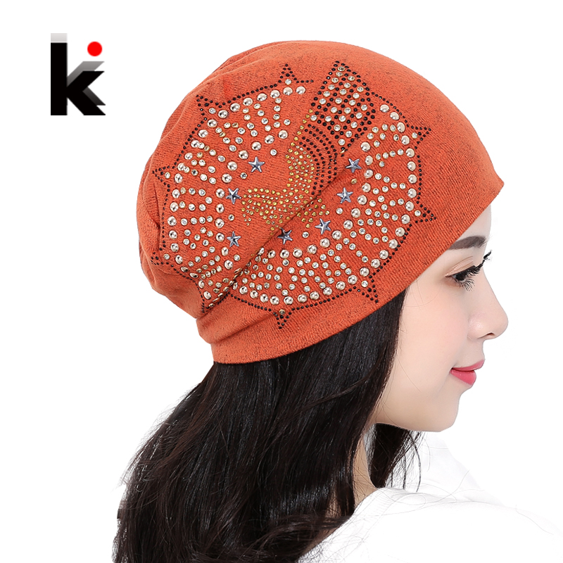 2017 Knitted Autumn And Winter Female Hats For Women Beanie Brand Hip-hop Cap Balaclava Caps Pearls Diamond Ladies Lnit Skullies 2016 limited gorro gorros brand new women s cotton hip hop ring warm beanie cap winter autumn knitted hats beanies free shipping
