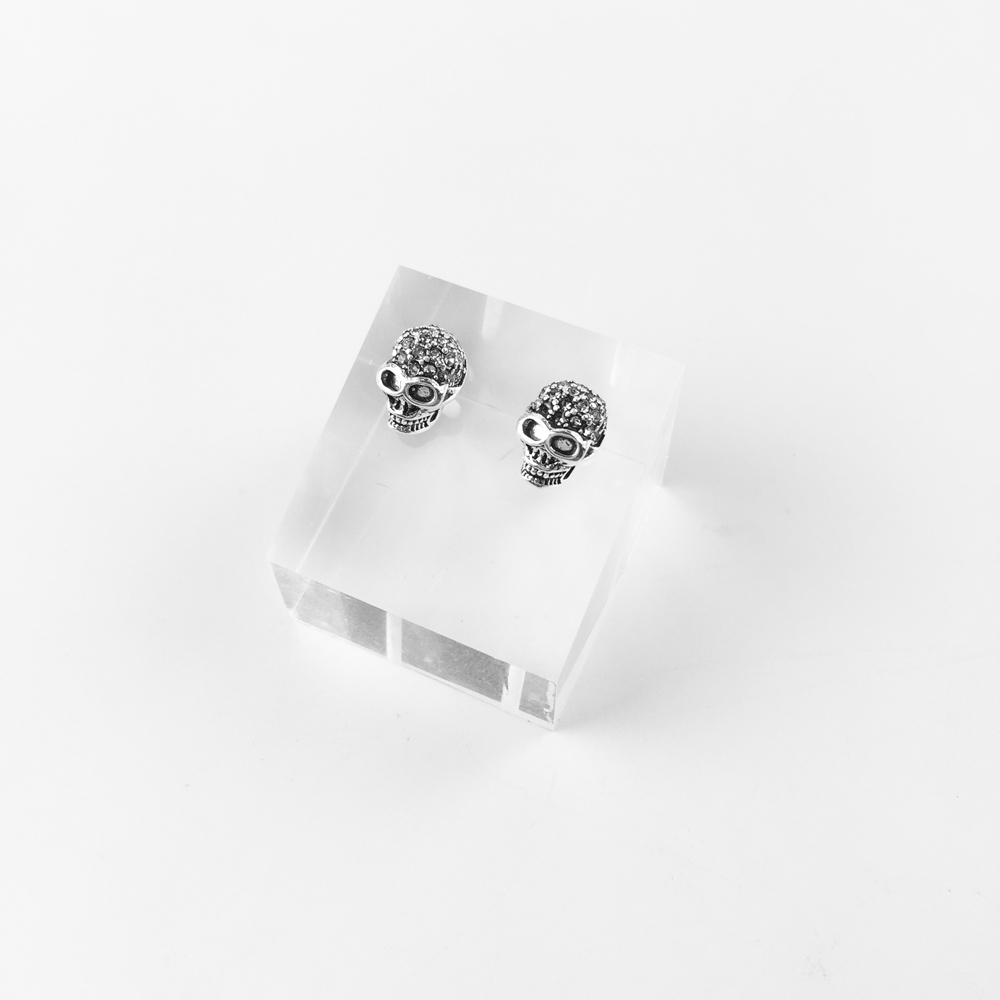 White Skull Pave Stud Earrings, 2018 New Rhinestone Fashion Jewelry White Punk 925 Sterling Silver Gift For Women Men Lover