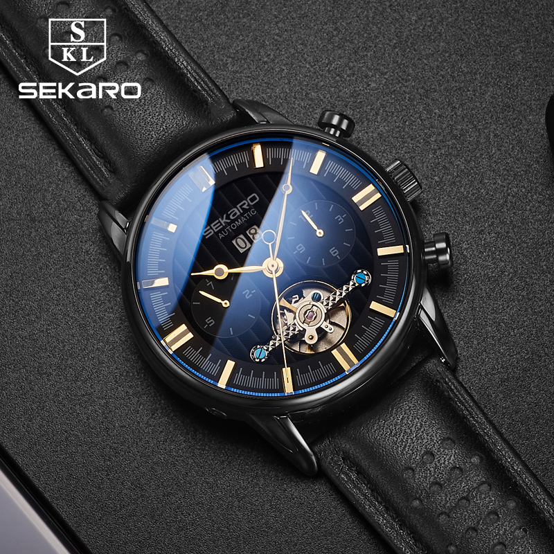 Sekaro Brand Men Watches Automatic Mechanical Watch Tourbillon Sport Clock Leather Casual Business Wristwatch Relojes Hombre цена