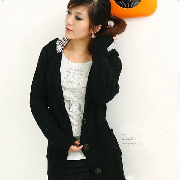 Abrigo negro botones mujer