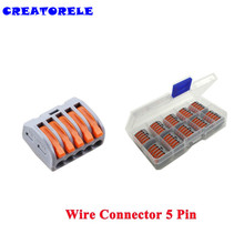 wago 10pcs 5 Pin Universal Compact Fast Wire Wiring Connector mini connector Conductors Terminal Block 32A