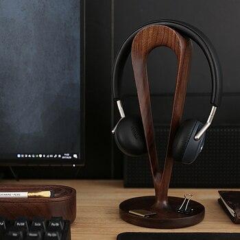 Headphone Holder Black Walnut Solid Wood Storage Rack for Earphone Headset Shower Creative Desktop Decoration