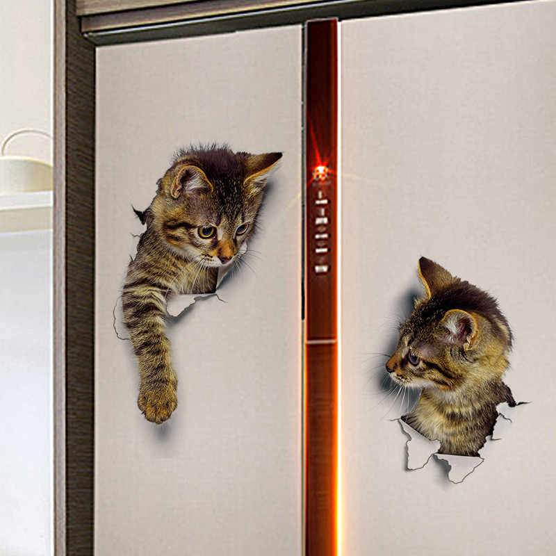Adesivo de parede 3d de gatos, decoração de casa, decalque à prova d'água para banheiro e crianças