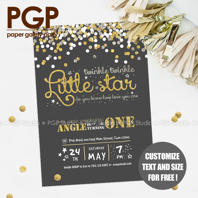 Pgp pink yellow gold twinkle llittle star invitation card pgp pink yellow gold twinkle llittle star invitation card customize kids birthday girls stopboris Images