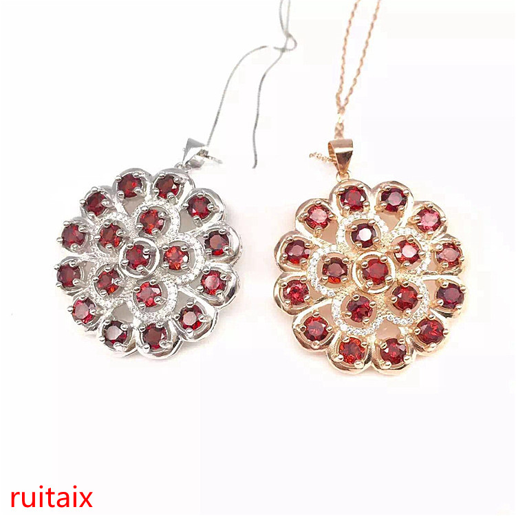 KJJEAXCMY boutique jewels 925 pure silver inlaid with gold jewelry natural garnet jewelry necklace - 4