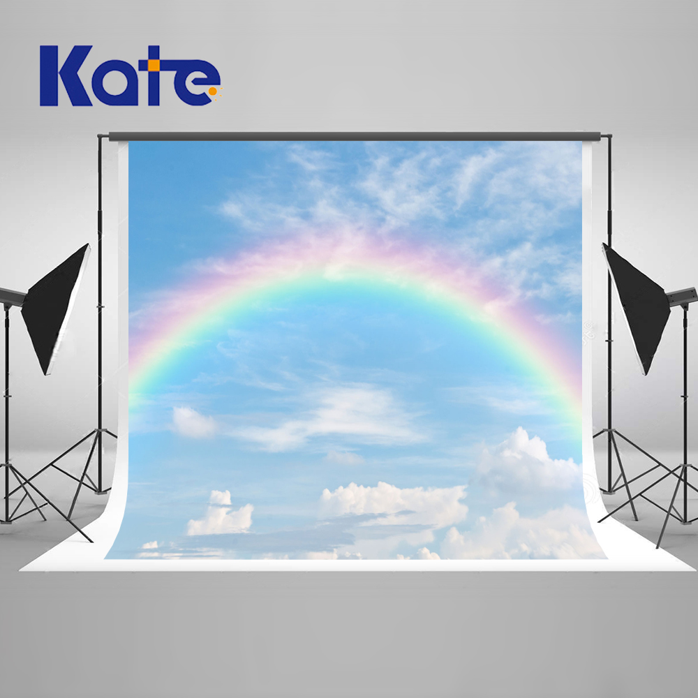 ФОТО Kate Blue Sky Photography Backdrops Rainbow and Cloud Background Newborn Photography Background Seamless Photo for Photos studio