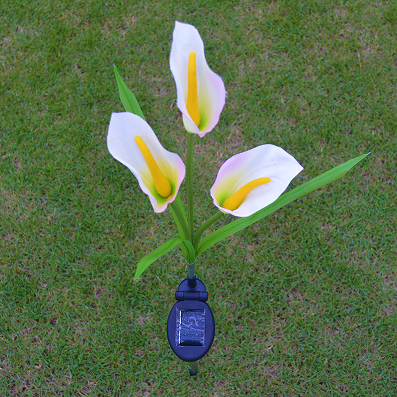 3 Heads LED Zonne-energie Calla Lit Lamp Outdoor LED Gesimuleerde Lantaarn Tuin Bruiloft Decoratie Gazon Licht