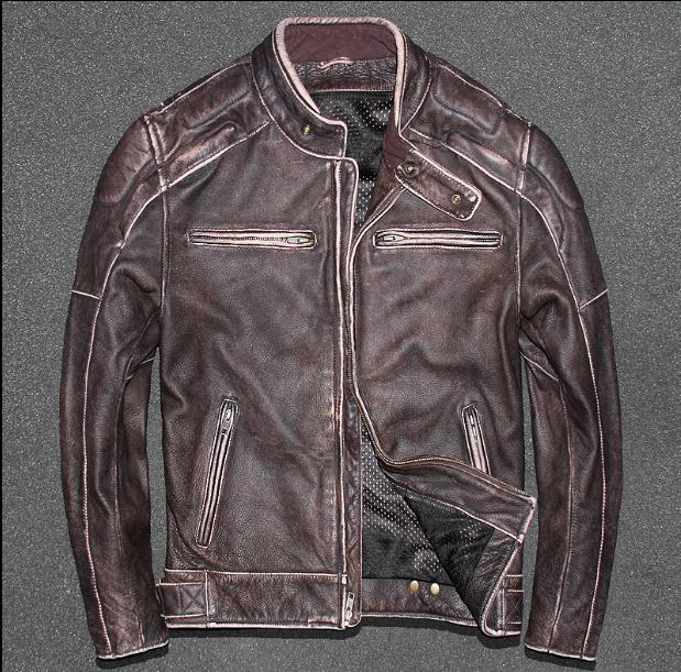 Free shipping.Plus size Brand Classic motor cow leather jacket man,100% genuine leather jacket,vintage warm quality men