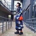 BT001 Original 2016 Outono Inverno Estilo Chinês guindaste impresso tecido de camada de ar tosado engrosse oversized longo trench coat mulheres