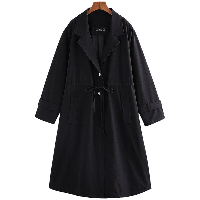 Surdimensionné Manteau Lâche Noir Casual Coupe 2018 Tranchée Black Vêtements Femelle Nouveau Automne Femmes 10xl Long Survêtement Solide vent R8IRwHpq