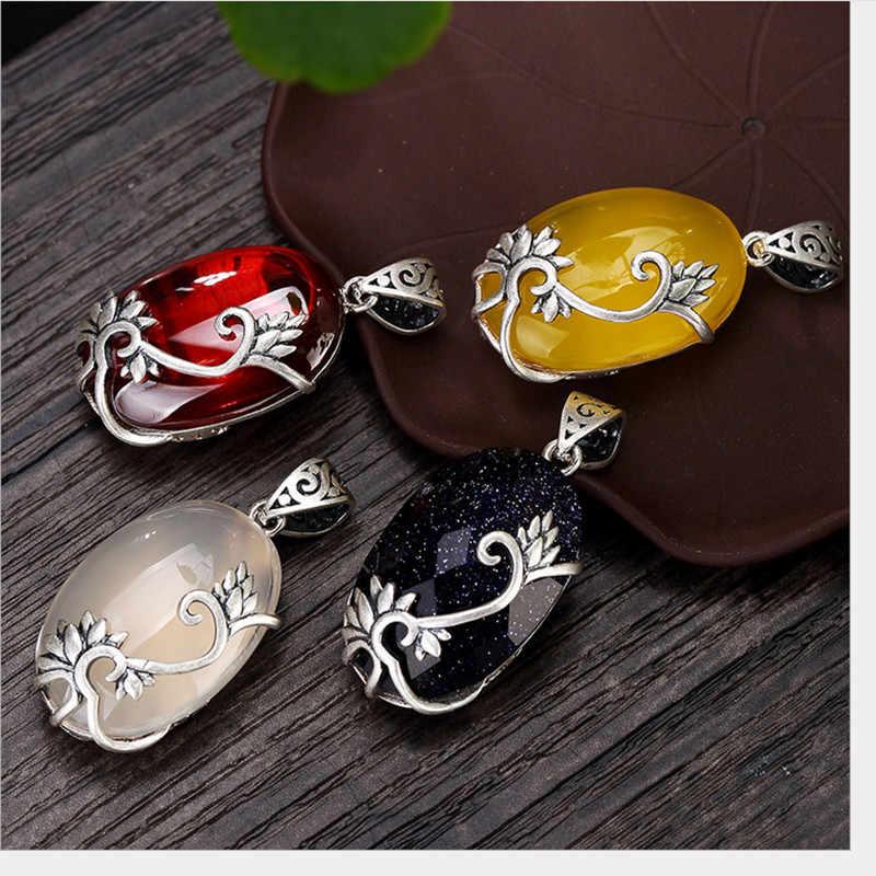 Uglyless prawdziwe 925 srebro ręcznie orchidea wisiorki kobiety chalcedon porządku biżuteria Thai srebrny sweter naszyjniki bez łańcuchy