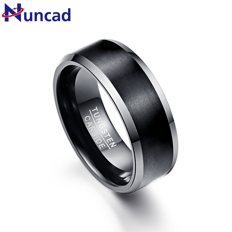 2019 matte polish silver beveled 8mm width 100% genuine wedding band black elegance tungsten carbide rings for men(China)