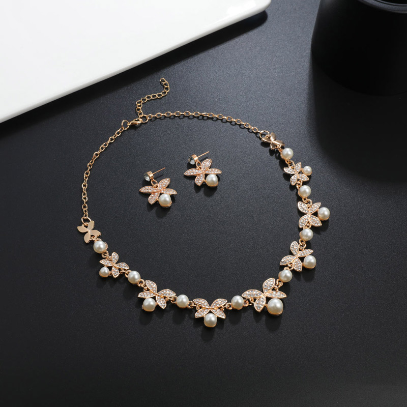 Fashion Simulated Pearl Jewelry Sets Wedding Bridal  Jewelry Flower Leaf Gold Silver Plated Chocker Necklaces Earrings Sets 2019
