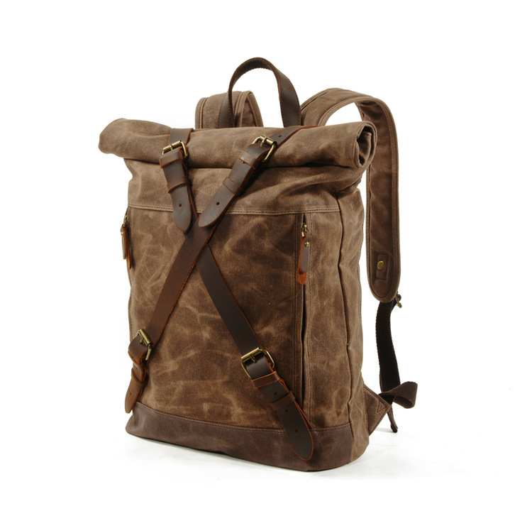 coffee Canvas & Leather Vintage Backpack
