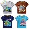 Boys Girls Summer T shirts Children Tops Cotton Shirts For Kids Baby Tees Clothing Kids Cartoon Car T shirts 2017 New E003