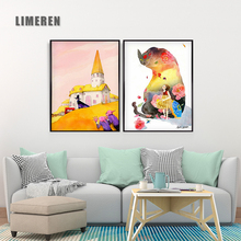 Nordic Abstract Canvas Art Poster A4 Print Castle Rabbit Cats Cartoon Flowers Girl Pictures Wall Painting Living Room Home Decor