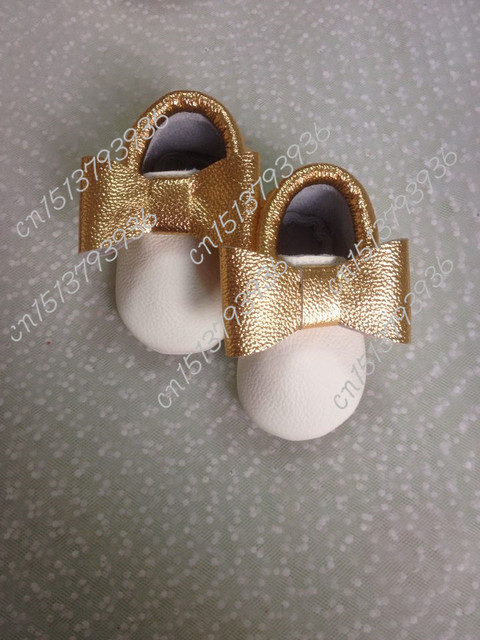 2016 new Gold Whie Fringe tassel Bow Genuine Leather Baby Girl Moccasins Princess Soft Slip-on Shoes First Walkers Infant