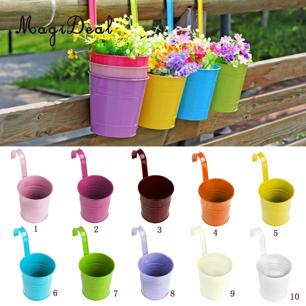 Vasi Da Giardino Colorati us $0.91 45% di sconto magideal colorato vaso di fiori in metallo muro di  ferro appeso vaso di fiori da giardino impianto fioriera complementi arredo