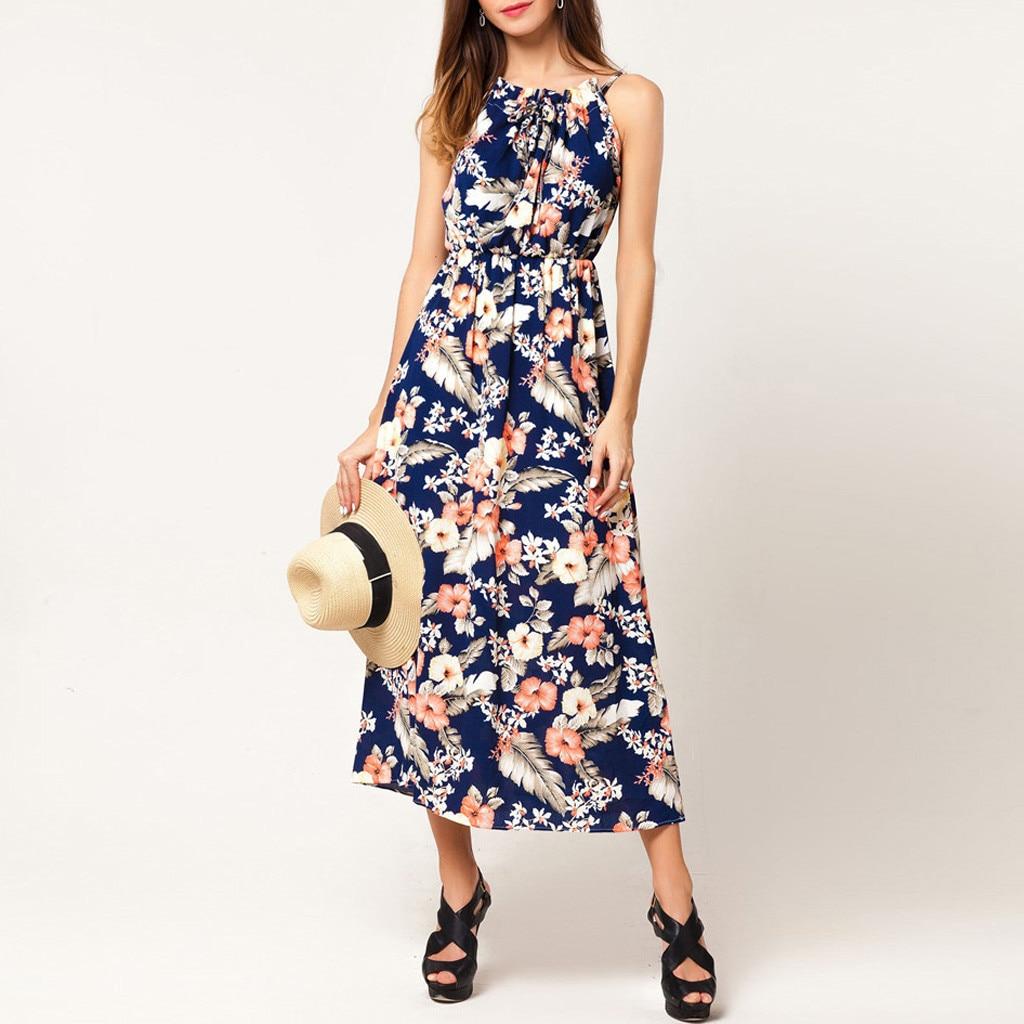 Summer Fashion New Women's Dress Sexy Round Neck Print High Waist Halter Strap Sleeveless Halter Sling Long Dress robe femme 40*