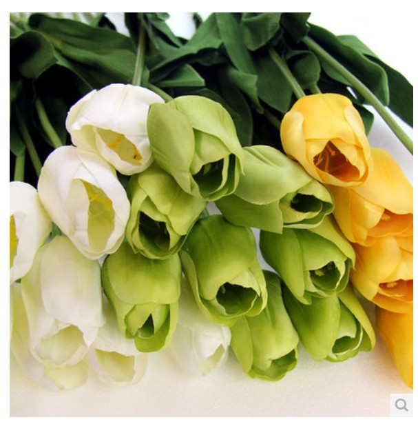 (10 pcs/lot) Free shipping long artificial tulips flower wholesale real touch silk tulip wedding decor