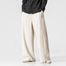 Новые хлопковые льняные Экстра широкие брюки для мужчин, китайский стиль, мужские Модные свободные удобные брюки, одноцветные шаровары на завязках