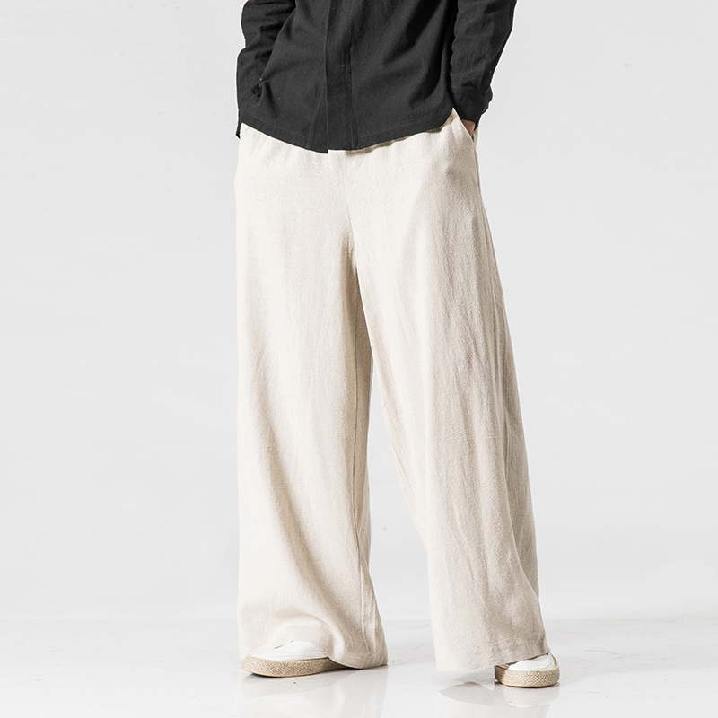 New Cotton Linen Extra Wide Leg Pants Men Chinese Style Male Fashion Loose Comfortable Trousers Solid Drawstring Harem Pants