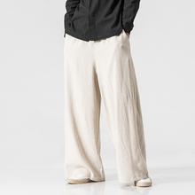 New Cotton Linen Extra Wide Leg Pants Men Chinese Style Male