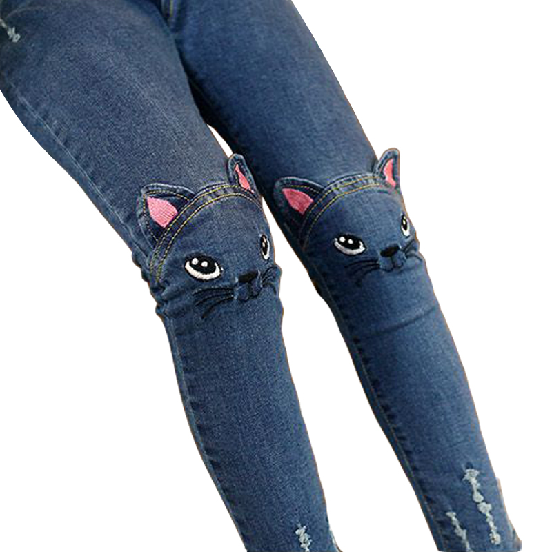 Baby Girls Jeans Cute 3D Cartoon Pattern Kids Jeans Spring Autumn Lovely Cat High Quality Children Pants Casual Trousers for Kid