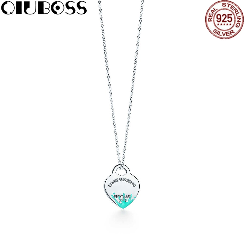 QIUBOSS 925 Sterling Silver Silver Heart Shaped Enamel Pendant Necklace Charm Women Clavicle DIY Gift Jewelry 925 silver heart shaped pattern ring silver