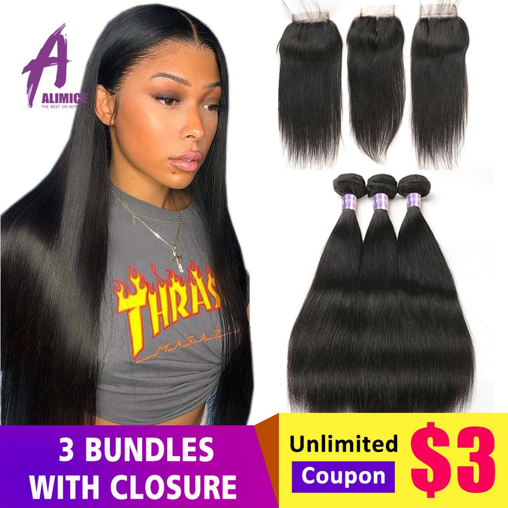 Alimice Hair Indian Straight Human Hair Bundles With Closure 3 Bundles Hair Extensions With Closure