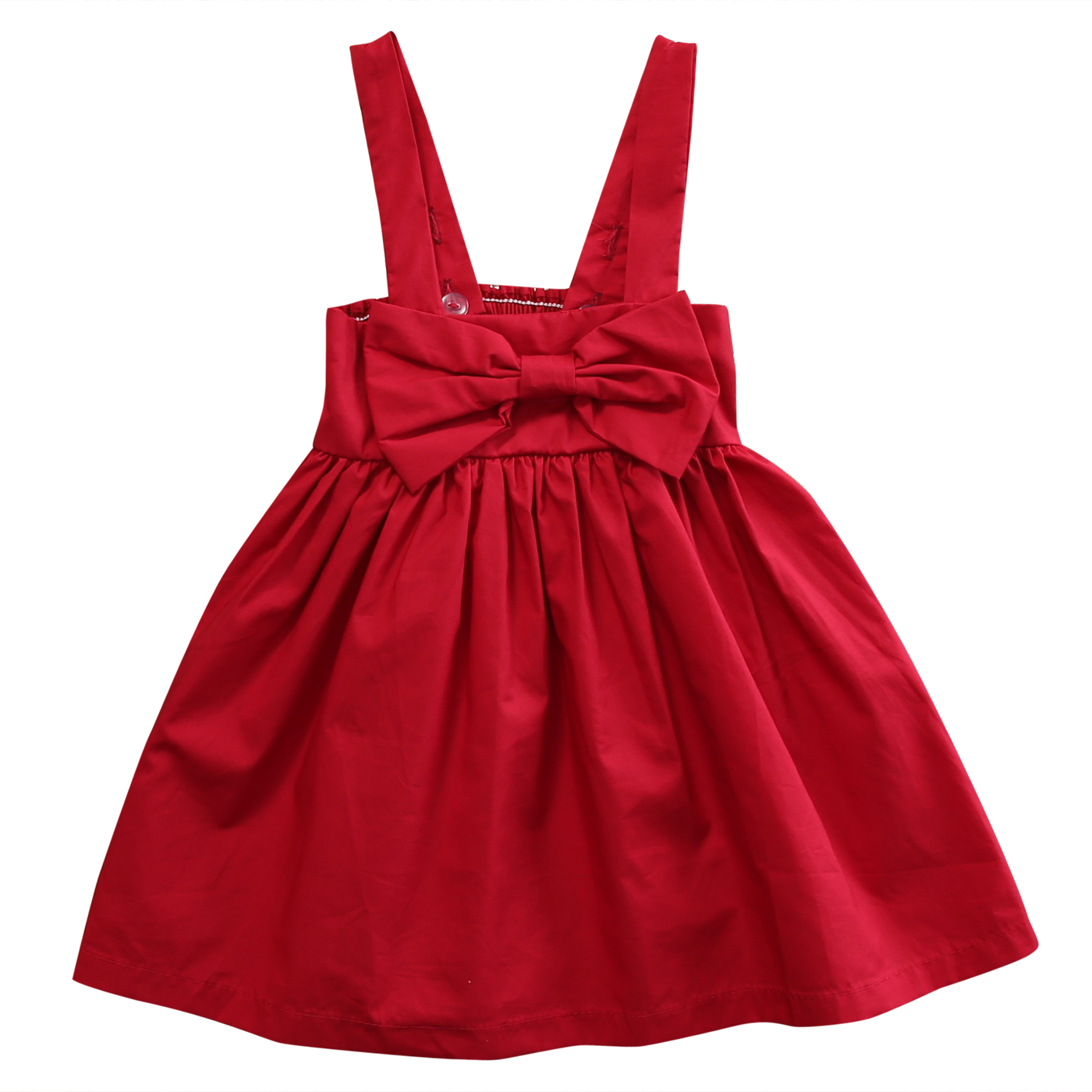 Fashion Summer Newborn Baby Girl Kid Red Sundress Bowknot Short Dress Backless Suspender Outfit Dresses 0-3YEAR