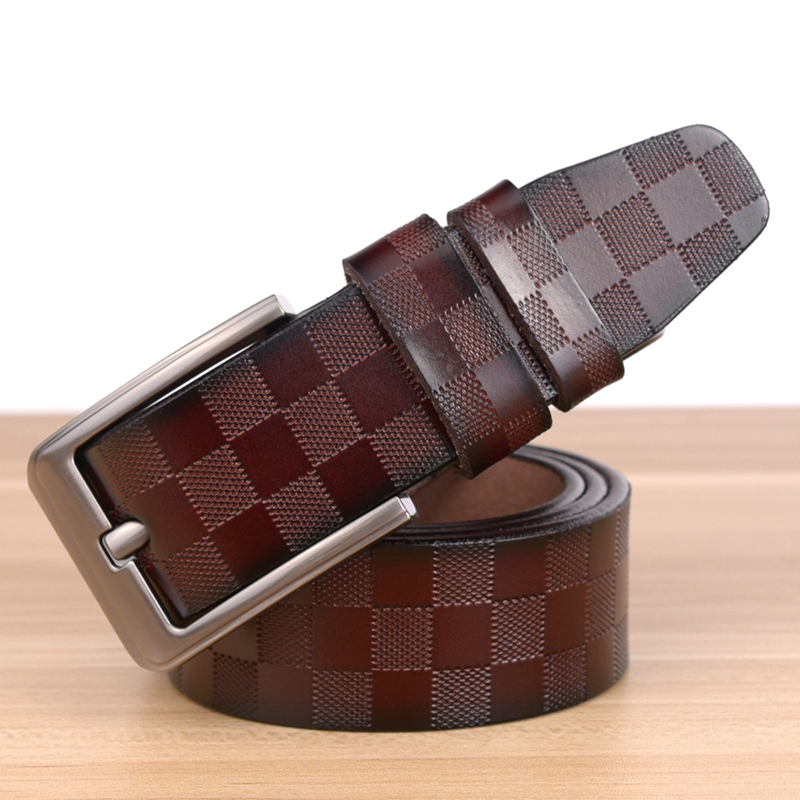 plaid pattern mens wide belt genuine leather belts pin