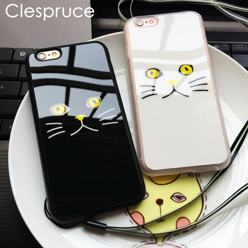Lovely Black White Cat Face Painted Soft Mirror Phone Case For iPhone 7 6 6S Plus SE 5 5S 4.7″ 5.5″ Rubber Protective Back Cover