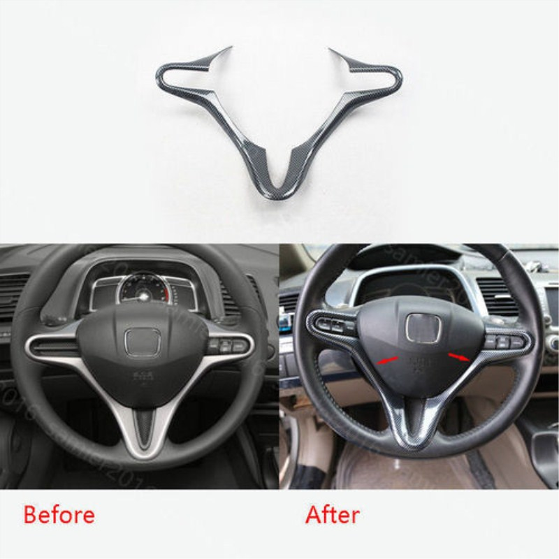 For Honda Civic 2009 2010 2011 1pc Carbon Fiber Style ABS Car Steering Wheel Cover Trim Decorative Styling Accessories