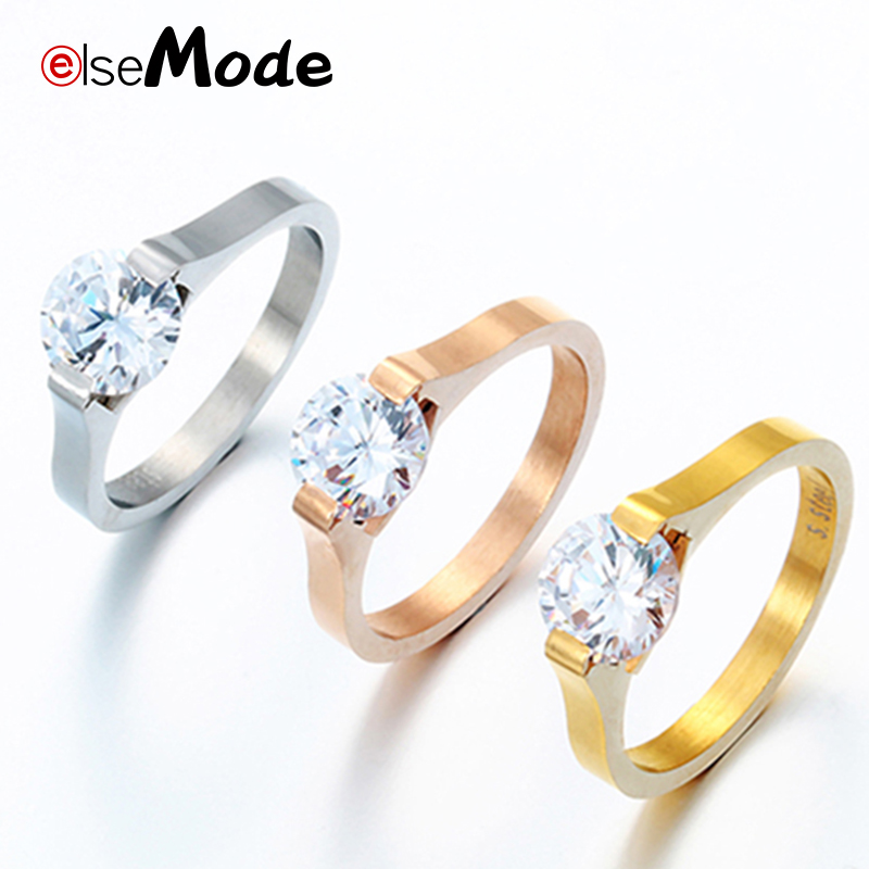 ELSEMODE 1.88ct Cubic Zircon Wedding Ring For Women Rose Gold Stainless Steel Engagement Jewelry Romantic Gifts for lovers(China)